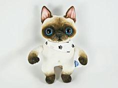 Siamese Cat in a Bnadana OOAK handmade soft art toy