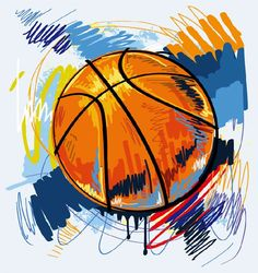 Basketball graffiti painted illustration - vector graphics
