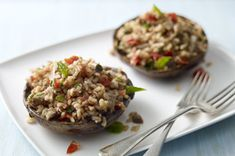 Meatless Grilled Stuffed Mushrooms-This is a healthy, meatless main dish recipe. It's a Weight Watchers 4 PointsPlus+ recipe, Grilled Stuffed Mushrooms, Stuffed Portabello Mushrooms, Stuffed Peppers, Kraft Recipes, Kraft Foods, Grilling Recipes, Cooking Recipes, Healthy Grilling, What's Cooking