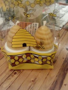 "Gift for teacher on first day of school. With a note: ""Glad your going to BEE my teacher!"" Gift comes with two bee hive candles, raw honey and cinnamon honey. From www.beemagichoney.com"