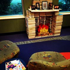 Fireplace made from books in the Teen Zone of the Terrebonne Parish Library's Main Branch, Houma, Louisiana.  #bookscuplture #tplteens