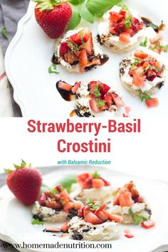This easy strawberry basil crostini with balsamic reduction is the perfect light spring and summer snack or quick healthy appetizer!