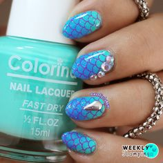 Nail Art Stamping: hehe 057. Mermaid Scales/Tail nails with Ombre/Gradient.