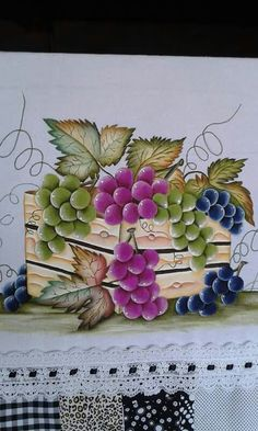 Caja de uvas Tole Painting, Fabric Painting, Watercolor Paintings, Painting & Drawing, Hand Embroidery Videos, Hand Embroidery Stitches, Painting Still Life, Painting For Kids, Sketchbook Drawings