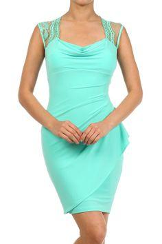 Mint Solid Knit Cowl Neck Mini Dress