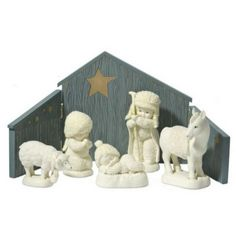 In Bethlehem Nativity Set www.teeliesfairygarden.com A Christmas scene in your fairy village wouldn't be complete without the solemn Bethlehem Nativity set. Snow babies in the nativity set will make your fairy garden look more adorable! #fairysnowbaby
