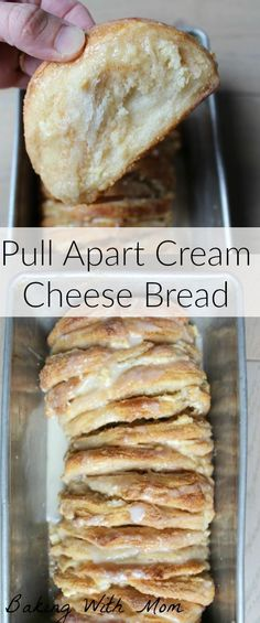 Pull apart cream cheese bread recipe for breakfast or snack. Easy cinnamon sugar mixture makes this bread easy and delicious