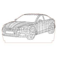 Audi 3d illusion lamp vector file for CNC - 3bee-studio