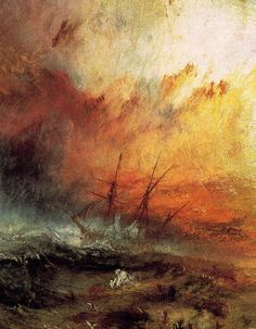 J.M.W. Turner, The Slave Ship, 1840 				i. Inspired by an actual incident during which slaves 				   were cast overboard during a typhoon 				ii. Exhibited at an international anti-slavery 					    conference whose goal was to end slavery around 				    the world 				iii. Turner wrote a poem describing the scene (romanticism)