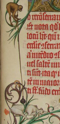 Aschaffenburg Ms. 12, fol 115r Pontifikale für den Erzbischof von Mainz, Adolf II. Entstanden zwischen 1466 und 1470. Dem Meister der Gauklerszene im Hausbuch zugeschrieben und daher wichtig für die Datierung des Wolfegger Hausbuchs.