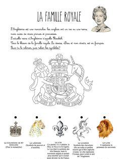 La famille royale symboles héraldiques blason, fichier sur l'Angleterre à télécharger- école maternelle et primaire à la maison