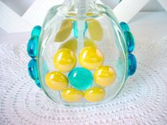Blue Soap Pump Glass Soap Dispenser Yellow Lotion by BuzyBeeBlooms