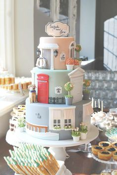 Just Married Home Inspired Wedding Cake Tower Wow I absolutely loved this cake, amazing. Even though it was made for a Wedding you could also have this as a Birthday cake, very nice indeed :) Gorgeous Cakes, Pretty Cakes, Cute Cakes, Amazing Cakes, Crazy Cakes, Unique Cakes, Creative Cakes, Fondant Cakes, Cupcake Cakes