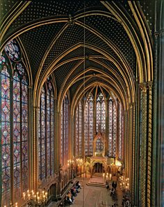 Interior of Sainte-Chappelle, one of the surviving buildings of the Capetian royal palace on the Île de la Cité, Paris.