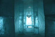 ice hotel columns and chandelier