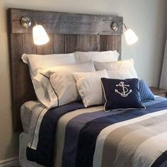 Reclaimed barn board headboard we finished a while back. This was was completed using our classic grey barn board. We incorporated some reading lights provided by the client. The piece adds some nice rustic charm to the bedroom. We can fabricate custom Farmhouse Furniture, Rustic Furniture, Bedroom Furniture, Furniture Design, Bedroom Decor, Rustic Desk, Cabin Furniture, Western Furniture, Rustic Shelves