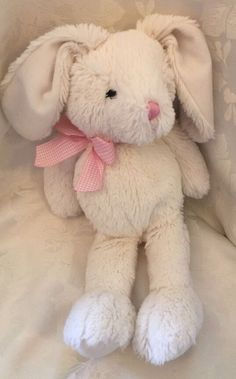 The Children's Place White Rabbit Plush Stuffed Baby Bunny Pink Bow 12"