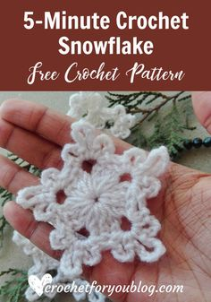 Crochet Flowers Pattern Crochet Snowflake - free crochet pattern - Believe me, friends, this snowflake can make in 5 minutes. So I named it Crochet Snowflake. Also, this pattern requires less than 5 yards. Crochet Diy, Beau Crochet, Crochet Puff Flower, Crochet Gratis, Crochet Stars, Crochet Motifs, Crochet Snowflakes, Crochet Flower Patterns, Crochet Flowers