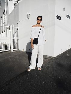 Get this look: http://lb.nu/look/8439517  More looks by SCHWARZER SAMT: http://lb.nu/schwarzersamt  Items in this look:  Sheinside Offshoulder Blouse, Mango Straight Pants, Calvin Klein Slipper, C