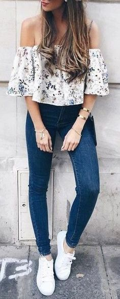 #summer #outfits / off the shoulder + flower print