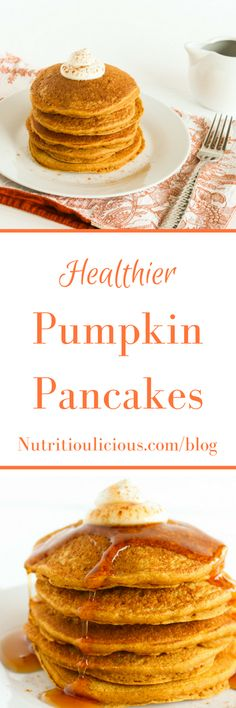 Healthier Pumpkin Pancakes | This fall, wake up to a stack of these healthier pumpkin pancakes made with whole grains, aromatic spices, honey, and 100% pure pumpkin puree. Recipe @jlevinsonrd.