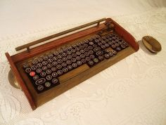 Antique Looking Computer Keyboard - Mouse with Victorian Styling - Steampunk-Typewriter-Wireless Rust