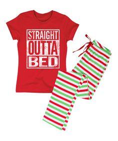 Love this Red 'Straight Outta Bed' Pajama Set - Women on #zulily! #zulilyfinds