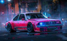 Descargar fondos de pantalla BMW M6, E24, la postura, el arte, la afinación, la noche, el BMW