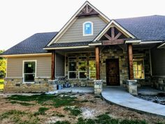 Love the awning and front entry gable - Rustique D House, House With Porch, House Front, New House Plans, Dream House Plans, My Dream Home, Style At Home, Porches, Exterior House Colors