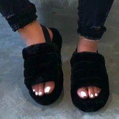 Peep Toes, Slipper Sandals, Wrap Heels, Fashion Sandals, Black Sandals, Pink Sandals, Summer Sandals, Open Toe, Fur Fashion