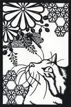 想刻这个图! Stamp Carving, Arts And Crafts, Paper Crafts, Kinds Of Cats, Kirigami, Silhouette Design, Paper Cutting, Printmaking, Metal Working