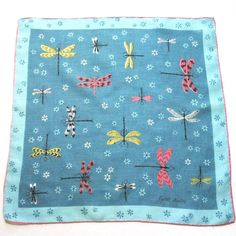 Linen Handkerchief Blue Dragonflies by Faith by LinensandThings, $38.00