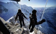 Step Into The Void is skywalk, at the top of the Aiguille du Midi peak, near Chamonix, France