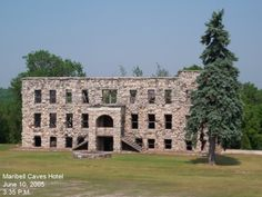 This is the ruins of the Maribel Caves Hotel which stands near the beautiful Maribel Caves State Park in Maribel, WI. It is also known as Hotel Hell and is reportedly haunted and is on private property but easily viewed from the road.