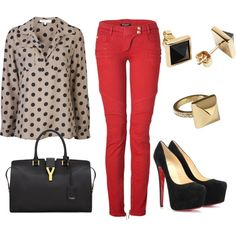 top for red pants. Magenta, Red Pants Outfit, Red Jeans, Fashion Outfits, Womens Fashion, Dress Me Up, Autumn Winter Fashion, Fashion Forward, Fashion Looks
