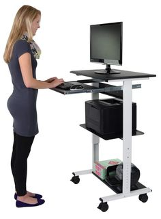 This Stand Up Desk Store Mobile Standing Computer Workstation with Keyboard Tray is ideal for creative and collaborative environments. Compact and lightweight, the height adjusts from to Stand Up Workstation, Computer Workstation, Stand Up Desk, Frame Stand, Standing Work Station, Work Station Desk, Standing Desk Benefits, Mobile Computer Desk, Computer Diy