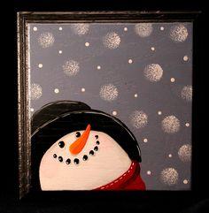 Snowman Wood Plaque.