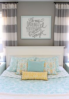Join in for my Master Bedroom Reveal. Bright colors, fresh design. A pretty modern twist on farmhouse decor.