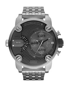 Black+Chronograph+Watch+with+Silver+Bracelet+by+Diesel+at+Neiman+Marcus.