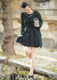 green tweed coat // black dress // purple heels