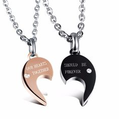 Couple Necklace His and Hers Split Heart Matching