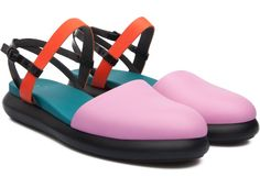 The bubbly shapes of beach inflatables inspired this playful slingback flat with a lightweight outsole to match. Beach Inflatables, Slingback Flats, Summer Collection, Gym Bag, Camper, Footwear, Boots, Model, Shapes