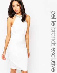 Paper Dolls Petite Halter Neck Pencil Dress With Chain Collar