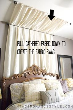 Hometalk :: DIY No-Sew Table Cloth Bed Canopy Tutorial