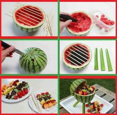 watermelon grill - cute centerpiece for a barbecue.  Add the fruit kebabs and voila!