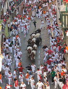 Running of the Bulls . Pamplona, Spain