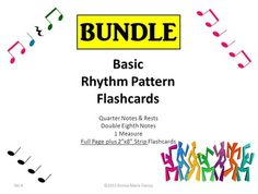 Bundle: 224 Pages20% OFF Individual Products5 Sets of 31, 1 Measure, Rhythm Pattern Flashcards:Quarter NoteQuarter Rest  Double Eighth Note4 Beats per cardSet 1: All Black RhythmsSet 2: All Pink RhythmsSet 3: All Green RhythmsSet 4: All Blue RhythmsSet 5: Multi-Colored Rhythms*Each Set contains the SAME 31 Rhythm Patterns*Teaching OptionsDivide your class into 2 Groups and a Soloist.Pink Group plays Pink NotesGreen Group plays Green NotesSoloists play the Blue NotesEveryone plays the Black…