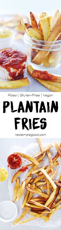 These paleo plantain fries are our cleaned-up version of an old guilty pleasure, and they are sure to satisfy any cravings for a salty, starchy side dish. Paleo, Gluten-Free and Vegan. | realsimplegood.com