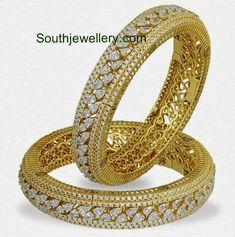 Diamond Bangles Archives - Page 3 of 11 - South Indian Jewellery Gold Diamond Earrings, Diamond Bracelets, Diamond Jewelry, Gold Jewelry, Jewelery, Fine Jewelry, Antique Jewellery Designs, Jewelry Design, Designer Jewellery