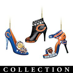 ...da christmas tree jest gat more beeutiful. da chicago bears high heel shoe ornament collection. ...dats what i'm talkin about!